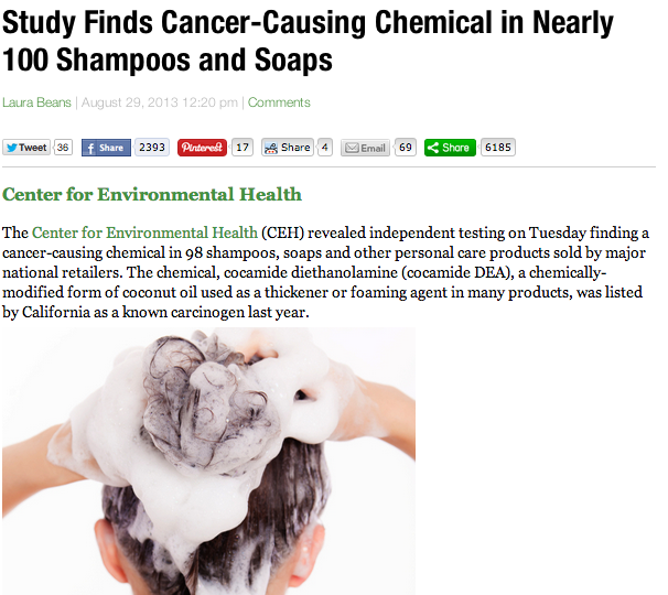 Study Finds Cancer-Causing Chemical in Nearly 100 Shampoos and Soaps